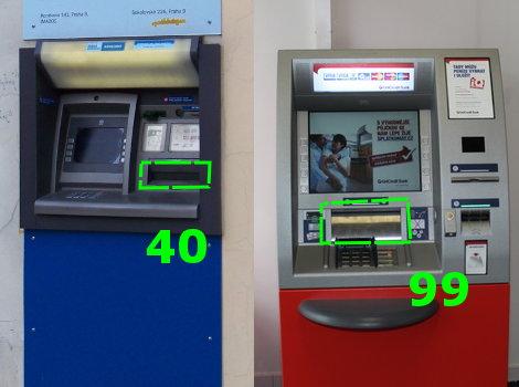 Různé typy bankomatů